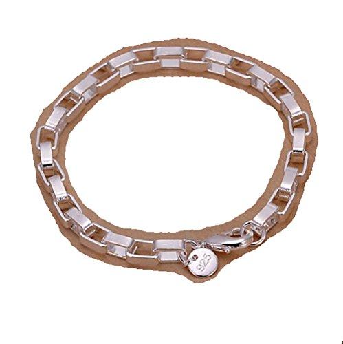 NYKKOLA - Pulsera de plata de ley 925 chapada en plata de ley 925, diseño de círculos, para mujer y hombre