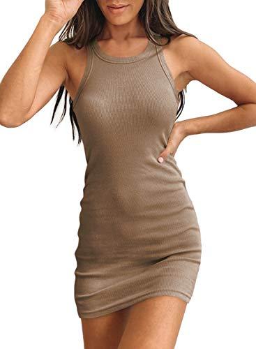 Samefar Womens Casual Scoop Neck Sleeveless Tank Dresses Stretchy Bodycon Short Mini Dress Khaki Small