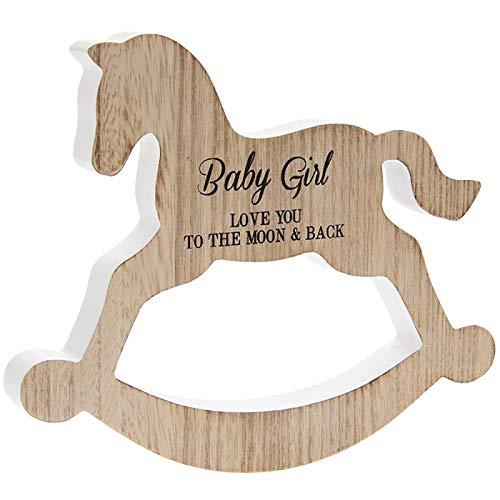 Placa de madera con texto en inglés 'Baby Girl Love You To The Moon & Back'