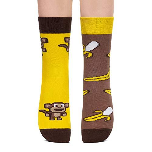 Petsy Lustige Socken für Damen & Herren - Baumwolle Bunt Motivsocken mit Spruch - Ideal Verrückte Geschenke Mehrfarbig,Glückliche Affen,39-42