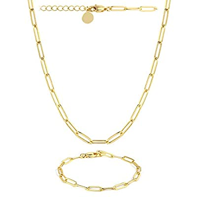 14K Gold Plated Dainty Paperclip Link Chain Necklace with Bracelet Set for Women Girls
