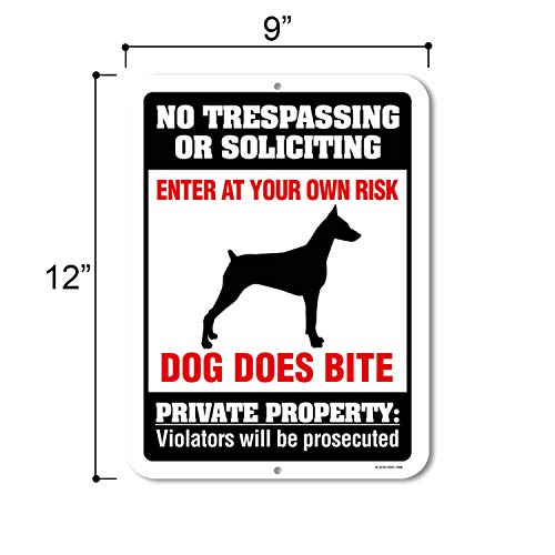 No Trespassing or Soliciting Dog Does Bite - 9 x 12 inch Metal Aluminum Novelty Sign Decor, Beware of Dog Sign - Made in The USA Photo #2