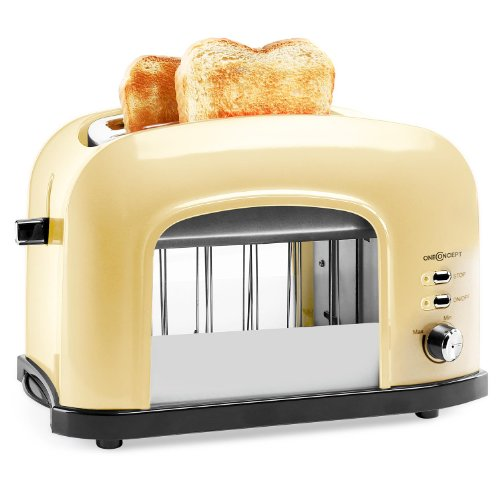 oneConcept Science Kitchen Doppelschlitz-Toaster mit Fenster (750W, 2 Sichtfenster, Krümelschublade) creme