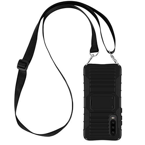 JAMMYLIZARD Cover a Tracolla Compatibile con Huawei P30 PRO Custodia Protettiva Rigida Antiurto [Taurus] in Silicone TPU e Polimero, Nero