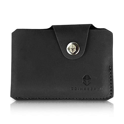 CoinKeeper® Mini Geldbeutel aus exklusiv Echt-Leder - Geldbörse Herren klein mit Münzfach - Schlankes Slim Wallet für Männer - Mini Wallet für Herren Schwarz