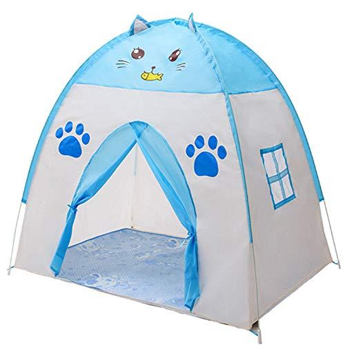 Tienda de campaña para niños, casa de juegos azul para camping, castillo de dibujos animados de ensueño con estera portátil para interior (color: azul, tamaño: 130 x 100 x 130 cm)