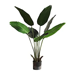 "Artificial Bird of Paradise Tree,Faux Travelers Banana Tree,Fake Tropical Palm Tree with 9 Leaves,Fake Trees for Outdoor and Indoor,Front Door Plants,Set of 2(47"") (47in)"