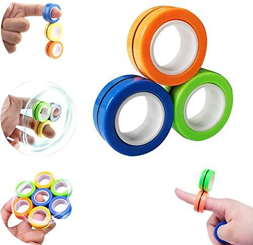 NUOVO 3 X Anello MAGNETICO Dito Fidget Toys-Calmante Mini Mano Spinner Gadget Gioco