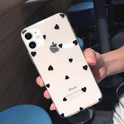 A prueba de caída caja del teléfono móvil transparente Fundas para iPhone 12 11 Pro Xs Max Xr X 8 7 6S Plus 5S Se Lunares Amor Corazón Claro Contraportada Caso
