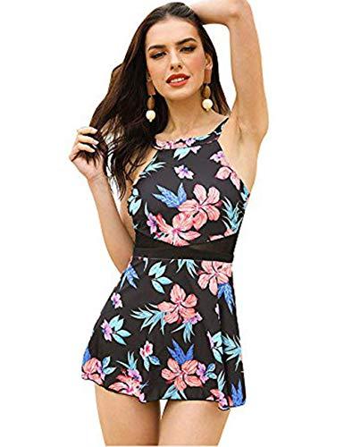 FeelinGirl Damen Neckholder Push Up Badekleid Figurformender Badeanzug mit Röckchen Bauchweg Einteiliger Badekleid M Blumen