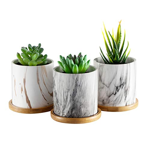 Dsben 35 Inch Succulent Plant Pots Small Marble Pattern Ceramic Planter Indoor with Bamboo Tray for Cactus Herb(No Plants Inculded) Set of 3