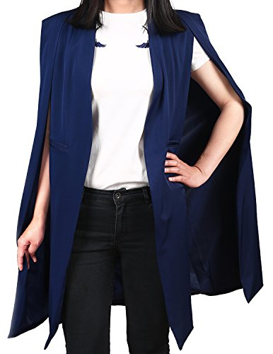 ASMAX HaoDuoYi Women Casual Open Front Cape Trench Duster Coat Longline Blazer(L,Navy Blue)