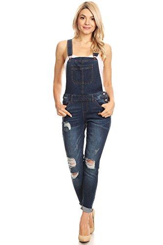 wax jean Women's Junior Ankle Length Skinny Leg Distressed Dark Denim Overalls (Medium, Dark Wash)