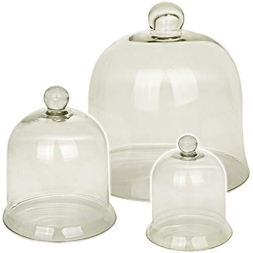 alles-meine.de GmbH 6 TLG. XL Set - Verschiedene große - Glasglocken mit Knopf Griff - 22,5 + 17,5 + 14 cm - Deko / Muffin - Süßigkeiten - Glashaube / Glasglocke - Pflanzen Dekor..