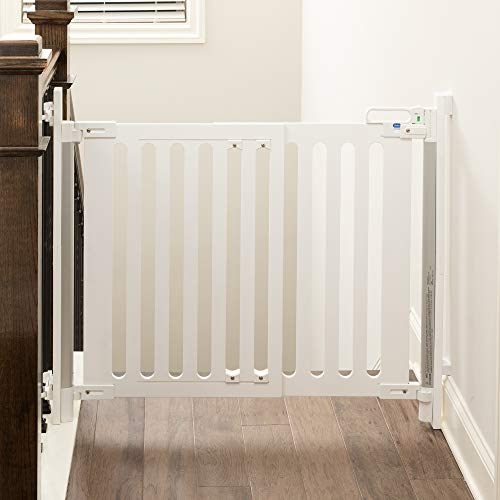 Qdos Spectrum Hardware Mount Baby Safety Gate | White – Modern Design & Unparalleled Safety – Crafted from Single Piece of Furniture Grade Wood - FastMount Rails for Simple & Fast Installation