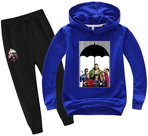 Silver Basic The Umbrella Academy Sudadera con Capucha y Pantalón para Niñas Conjunto de 2 Piezas para Fanáticos TV Ropa de Cosplay 120,Azul5174-1