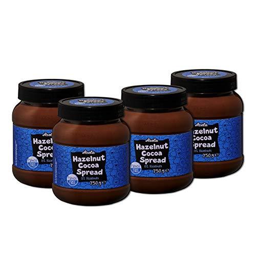 Lot de 4 pots de pâte à tartiner au cacao et aux noisettes AZELA, sans huile de palme (4x750g)