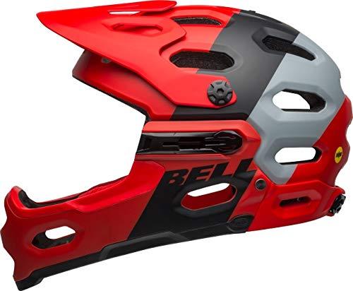 BELL Super 3R MIPS, Casco da Bicicletta. Unisex-Adulto, Downdraft Opaco Cremson/Nero, Mittelgroß