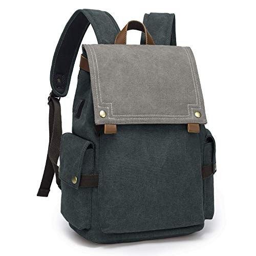 TAK Backpack Daypack Canvas Fashion Casual Large College School Rucksack with USB Port...
