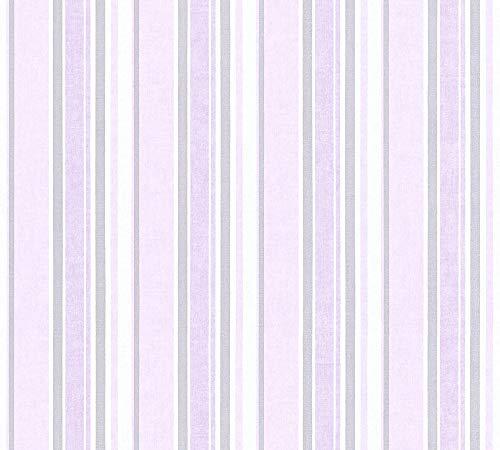 A.S. Création PVC-freie Vliestapete Little Stars Tapete gestreift 10,05 m x 0,53 m metallic rosa weiß Made in Germany 358494 35849-4