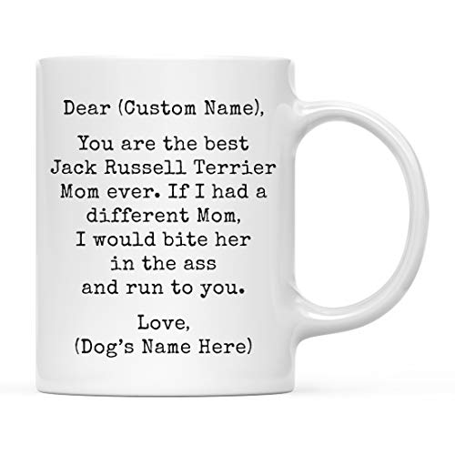 Andaz Press Personalized Funny Dog Mom 11oz. Coffee Mug Gag Gift, Best Jack Russell Terrier Dog Mom, Bite in Ass and Run to You, 1-Pack, Custom Dog Lover's Christmas Birthday Ideas, Includes Gift Box