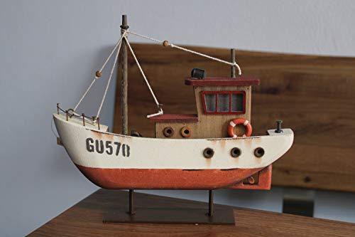 Holzboot met ledverlichting, boot met verlicht raam, L 25,5 cm, H 22 cm