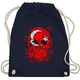 Shirtracer Länder - Turkey Schädel Vintage - Unisize - Navy Blau - Türkei - WM110 - Turnbeutel und Stoffbeutel aus Baumwolle