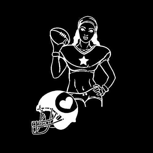 BBTF Schöne Aufkleber 13 7 CMX19CM. Vinyl Aufkleber Frauen American Football Sports Girl Helm Auto Aufkleber Autoaufkleber (Color Name : Silver)