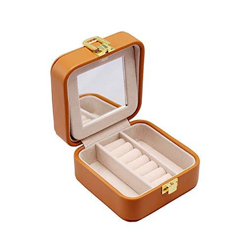 XSSC Bolsa De Joyería Pequeña Portátil Creativa Caja De Almacenamiento De Doble Capa De Joyería De Pendiente De Viaje Joyero Blanco,Brown-10.5 * 10.5 * 5cm