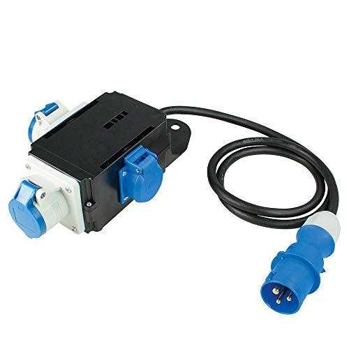 as - Schwabe MIXO Stromverteiler EMS – 230 V / 16 A CEE-Stecker mit 1,5 m Zuleitung auf 2 x CEE-Steckdosen und 1 x Schuko-Steckdose – IP44 Wohnmobil Zubehör – Made in Germany – Schwarz I 60496