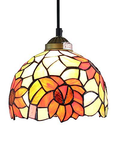 Lámpara giratoria de girasol pastoral de 8 pulgadas, sala de estar, pasillo, luz colgante de 1 luz
