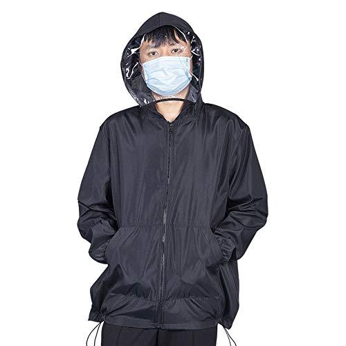 Wasbare en herbruikbare beschermende kleding Geïsoleerde kleding Jashoed en afneembaar masker waterdicht. Large zwart