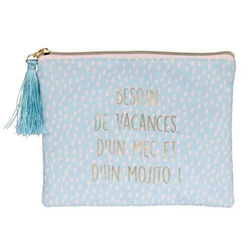 Les vilaines Filles, Trousse à maquillage en polyester - Besoin de vacances d'un mec et d'un mojito 20 x 1 x H15 cm (40-VF-014)