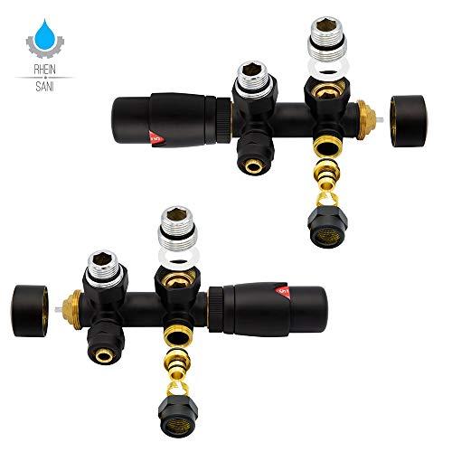 Heimeier Thermostatventil Belrad Mittelanschluss Heizkörper Thermostat Thermostatkopf Multiblock Belrad: Schwarz/Eck - Multiblock