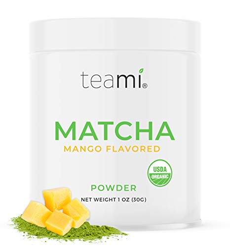 Teami Matcha Green Tea Powder - with Real Mango - Ceremonial Grade USDA Organic - Best for Lattes, Smoothies, Baking, Recipes, Traditional Preparation - Authentic Japanese Origin - 30g (1oz) Tin