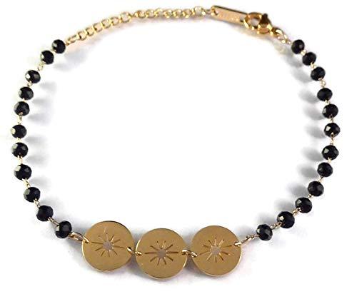 Joyxdemylene - Pulsera Fina chapada en Oro sobre Acero Inoxidable para Mujer con Cadena, Redondas, Planas Estrellas, pequeñas Perlas Negras facetadas.