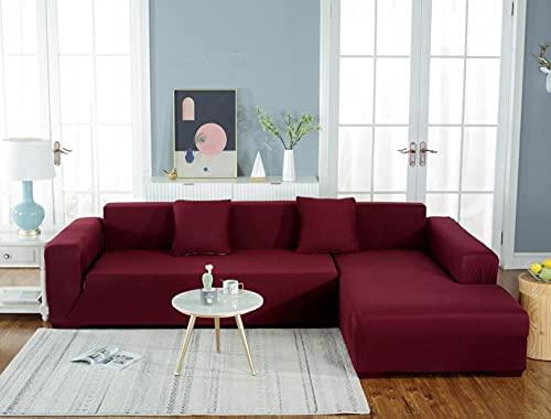 Stretch sofföverdrag 2-sits: 145–185 cm polyester spandex tryckt elastisk soffa sofföverdrag vattentäta halkfria möbelskyddsskydd, med halkfritt skum – röd
