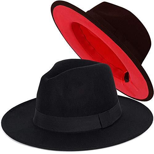 FADACHY Trendy Fedora Hat Wide Brim Wool Dress Felt Hat Red Bottom Two Tone Black 2 Colors