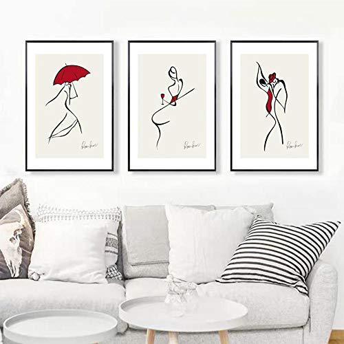 Figura de moda abstracta moderna impresiones impresiones de lienzo pinturas arte de pared póster imágenes sala de estar decoración del hogar regalo para niñas