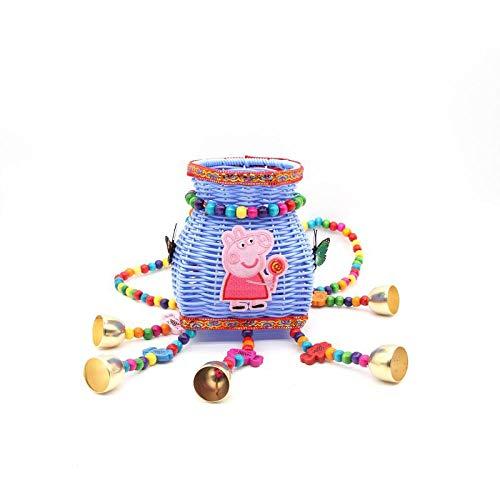 BFCGDXT Nuovo stile etnico creativo spalle ricamate colore dei bambini piccolo cestino posteriore fibbia posteriore viaggio souvenir-Piccolo lecca lecca fondo blu fisso colore