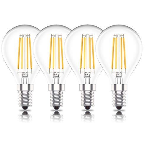 Huoqilin E14 Dimmbare LED Tropfenform Glühbirnen, 4W P45 Kleinschraubbirnen, Warmweiß 2700K, 4er-Pack