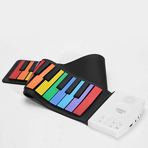 SMAA 49 Tasten Standard-Soft Keys Piano tragbare Reise Klavier Faltbarer elektrischen Tastatur-Klavier-USB-Mini-Tastatur Eingebauter Lautsprecher für Kinder über 3 Jahre alt,Rainbow