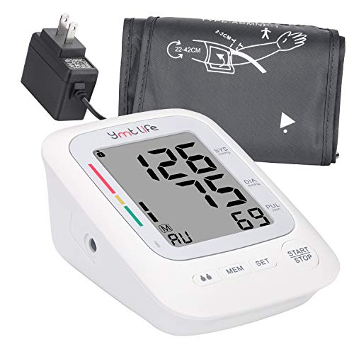 Home Blood Pressure Monitor – Upper Arm Blood Pressure Device with LCD Screen – Premium Home Health Gadget – FDA-Approved – Resistant Cuffs for Regular and Large Arms – Easy to Use & Read