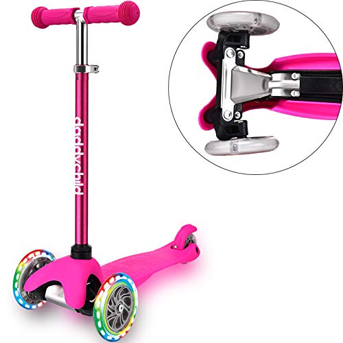 3 Wheel Scooters for Kids Kick Scooter for Toddlers 26 Years Old Boys and Girls Scooter with Light Up Wheels Mini Scooter for Children Pink