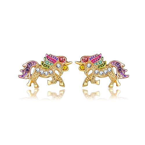 Arete Pequeños Pendientes De Unicornio De Cristal Coloridos De Moda, Pendientes De Animales Bonitos Y Encantadores De Lujo Para Mujer, Regalo De Joyería De Boda