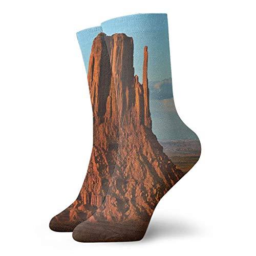 Calcetines suaves de longitud media de pantorrilla, panorama del popular cañón americano por proceso de erosión larga y temas de viento, calcetines para mujeres y hombres, ideales para correr