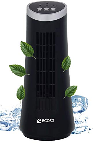 Turm Tischventilator   Oszillierend   2 Stufen   Sehr leise   Tolles Design   Luftkühler   Kleiner Ventilator   Fan   Windmaschine   Ventilator   Miniventilator (Pure Black)