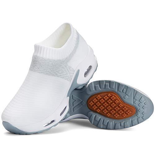 Mishansha Slip on Air Walkingschuhe Damen Bequeme Fitnessschuhe rutschfest Hypersoft Sneakers Leicht Plateau Loafer Weiß C N,Gr.38 EU