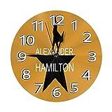 H-amilt-on - Reloj de pared musical americano silencioso y no atado, diseño de números arábigos vintage, fácil de leer en casa