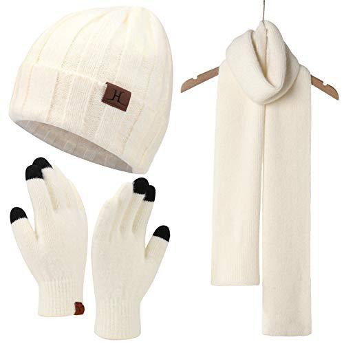 Bequemer Laden Damen Wintermütze Warm Beanie Handschuhe Touchscreen Langer Schal Kombinationsset mit Fleecefutter